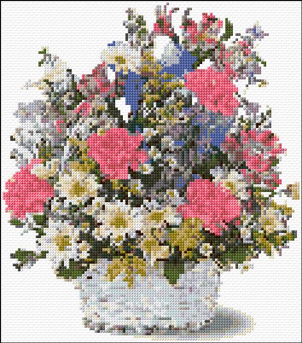 Flower Baskets Cross Stitch Charts : Cross stitch flowers basket xstitch chart design