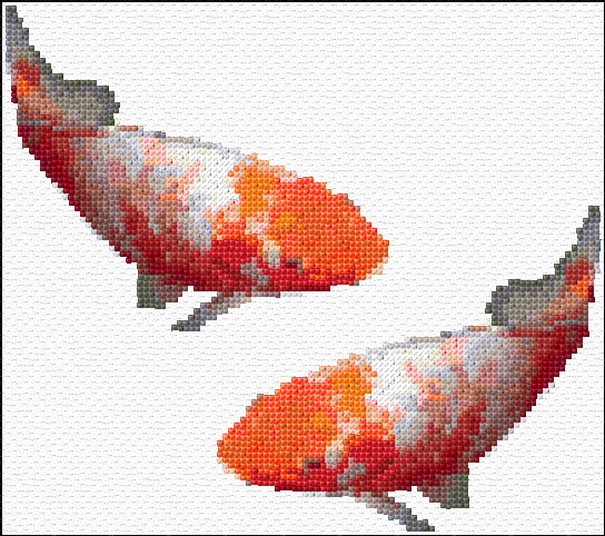 Cross stitch koi fish xstitch chart design for Koi fish patterns
