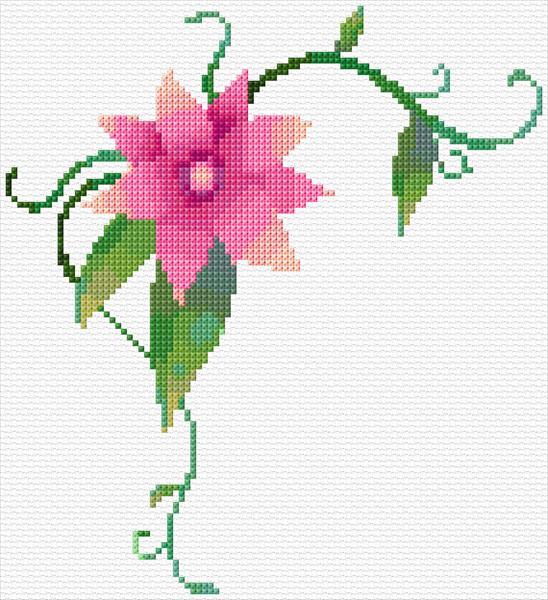 Pink flower corner anns cross stitch patterns pink flower corner mightylinksfo