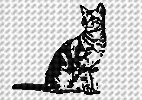 Free Black And White Cat Cross Stitch Pattern
